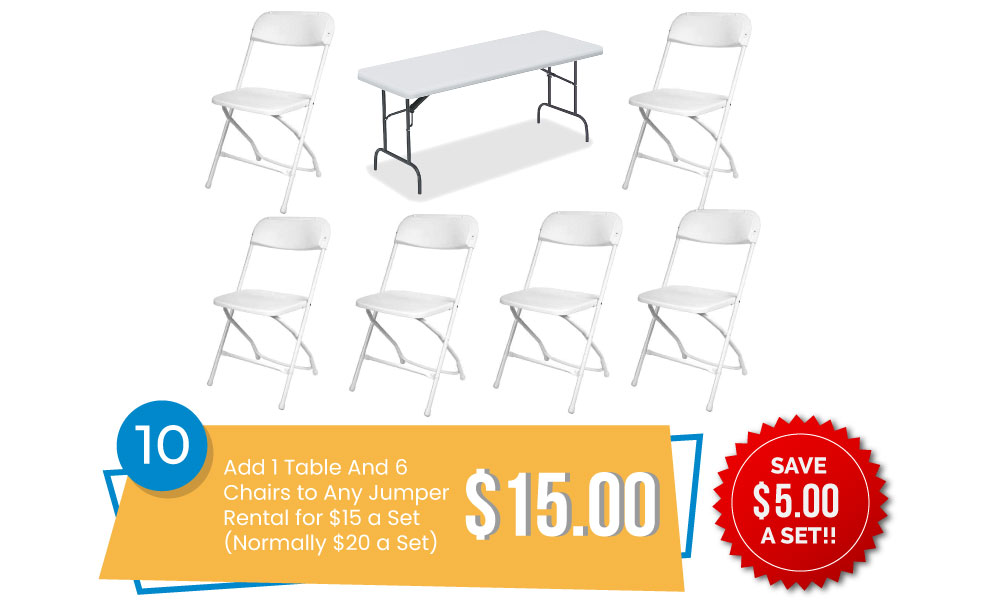 Special #10 - Add 1 Table & 6 Chairs to Any Order for only $15 a set (Normally $20 a set).
