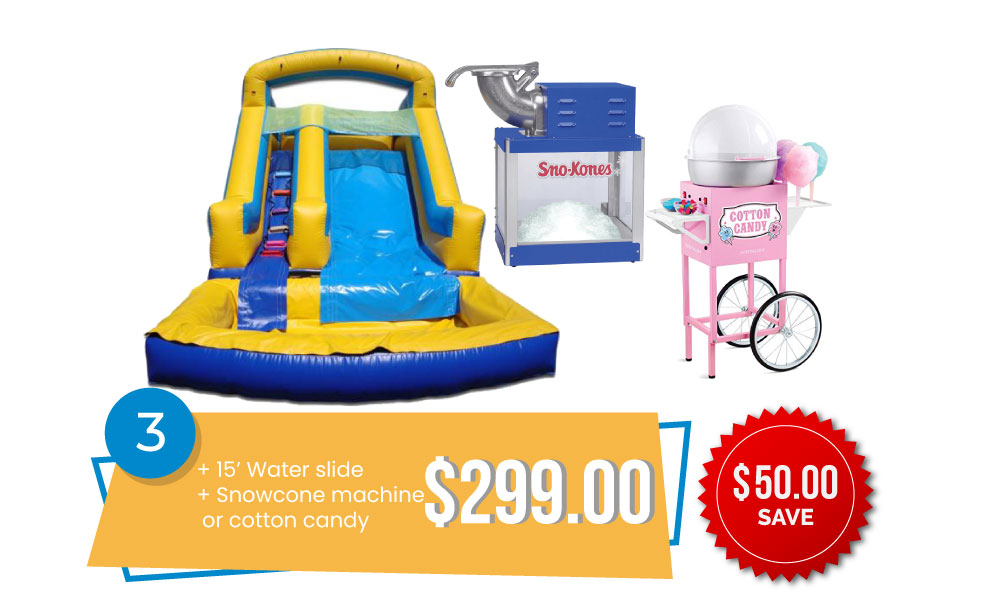 Special #3 - Any 15' Water Slide & Snow Cone Machine or Cotton Candy for $299, Save $50.