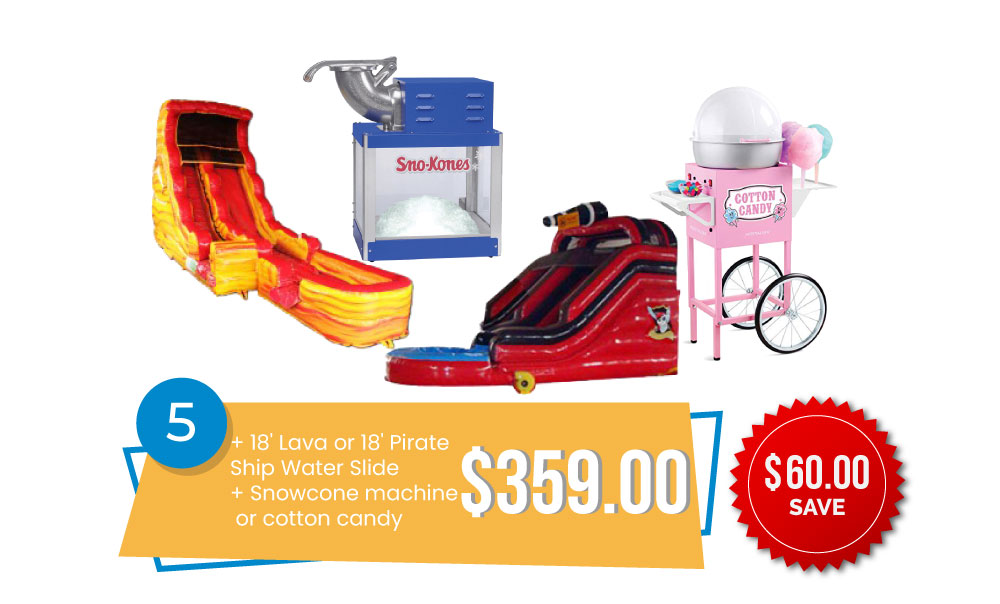 Special #5 - 18' Lava or Pirate Ship Water Slide & Snow Cone Machine or Cotton Candy for $359, Save $60.