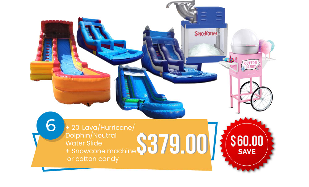 Special #6 - 20' Lava or Hurricane or Neutral or Dolphin Slide & Snow Cone Machine or Cotton Candy for $379, Save $60.
