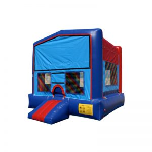 13'x13' Blue Bounce House with Banner Velcro and Basketball hoop