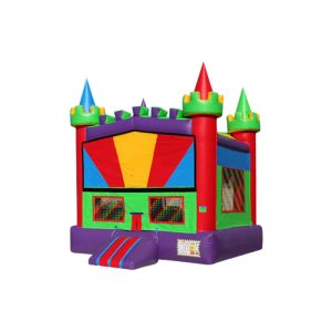 13'x13' Rainbow Castle With Banner Velcro and Basketball Hoop