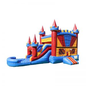 26' Dual Lane Castle Jump-n-Slide Banner Combo Dry Use with basketball hoop