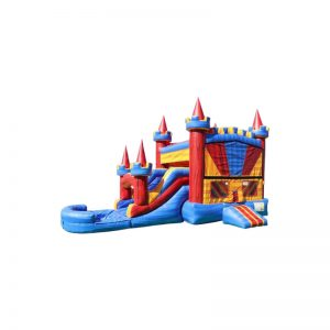 Castle Jump n Slide Dual Lane Banner Combo Wet (with basketball hoop)