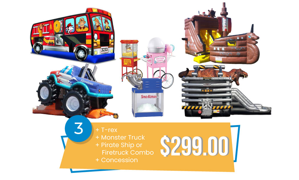 Special #3 - Delux Combo Special T-rex, Monster Truck, Pirate Ship or Firetruck Combo & Concession $299