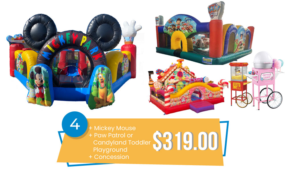 Special #4 - Toddler Playground Special - Mickey Mouse, Paw Patrol, or Candyland Toddler Playground & Concession $319