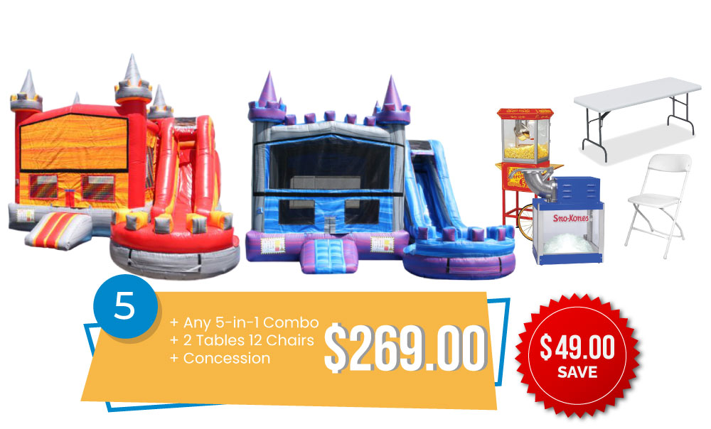 Special #5 - 5in1 Combo Special - Any New 5in1 & 2 Tables and 12 Chairs & Concession $269