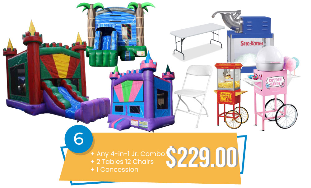 Special #6 - Any New 4-in-1 Jr. Combo & 2 Tables and 12 Chairs & Concession $229