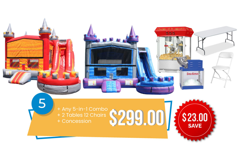 Special #5 - 5in1 Combo Special - Any New 5in1 & 2 Tables and 12 Chairs & Concession $299