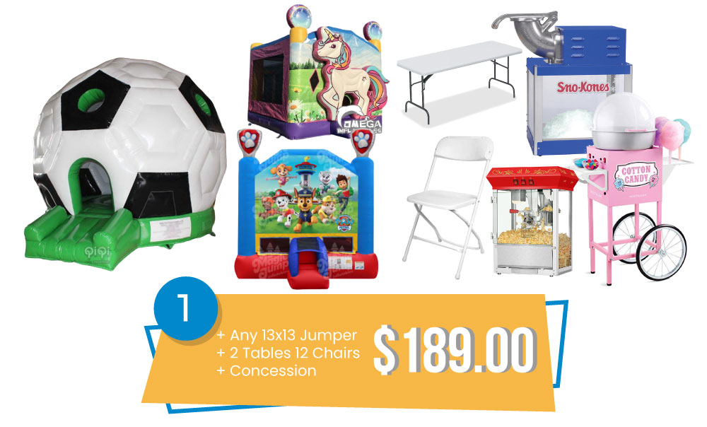 Special #1 - Any 13x13 Jumper & 2 Tables and 12 Chairs & Concession $189