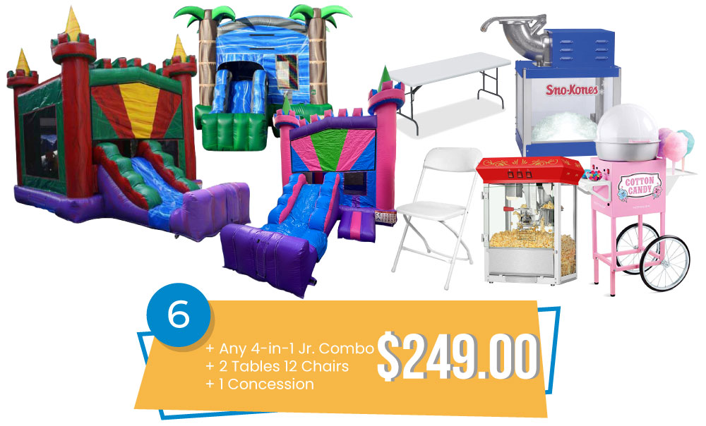 Special #6 – Any New 4-in-1 Jr. Combo & 2 Tables and 12 Chairs & Concession Only for $249