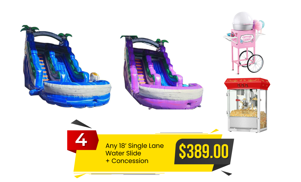 Special #4 - Any 18' Single Lane Water Slide & Concession for $389