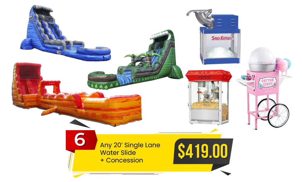 Special #6 - Any 20' Single Lane Water Slide & Concession for $419