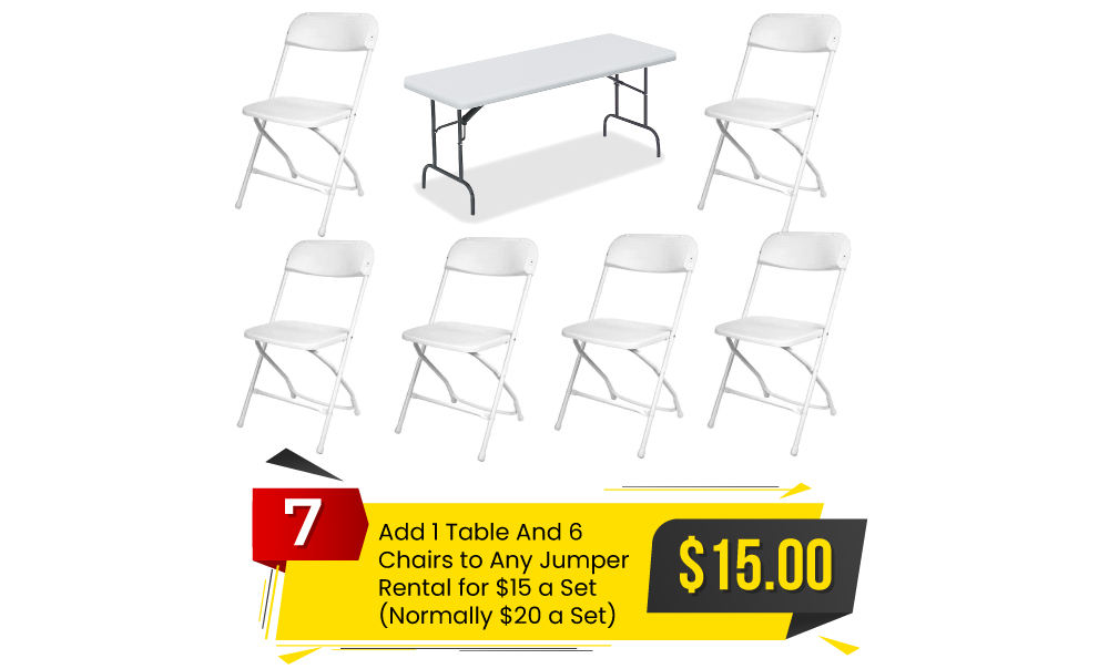Special #7 - Add 1 Table and 6 Chairs to Any Order for $15 a Set