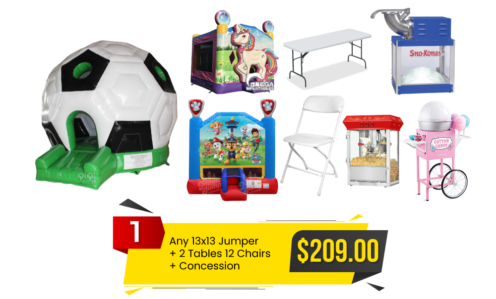 Special #1 Any-13×13 Jumper & 2 Tables and 12 Chairs & Concession Only for $209