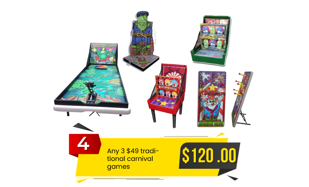 Special #4 - Any 3 $49 Traditional Carnival Games with Any Inflatable for $120.
