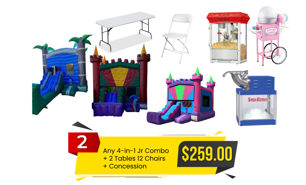 Special #2 Any 4-in-1 Jr Combo & 2 Tables and 12 Chairs & Concessions-for $259